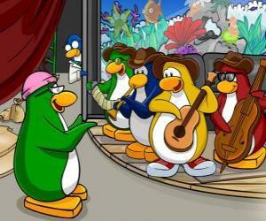 Der Penguin-Band, Billy G am Schlagzeug und Flöte, Petey K am Piano und Akkordeon, Bob am Bass und Gitarre Franky. puzzle