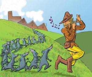 Der Rattenfänger von Hameln die Flöte spielen, gefolgt von Ratten puzzle