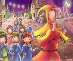 Der Rattenfänger von Hameln auf mysteriöse Weise mit allen Kindern der Stadt hinter dem Klang der Flöte puzzle