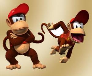 Der Schimpanse Diddy Kong, Charakter im Videospiel Donkey Kong puzzle