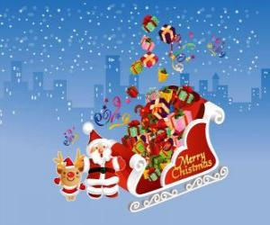 Der Schlitten des Weihnachtsmannes voller Weihnachtsgeschenke puzzle