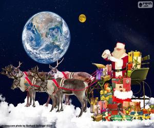 Der Schlitten des Weihnachtsmannes über den Wolken puzzle