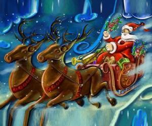 Der Schlitten voller Geschenke fliegen mit dem Weihnachtsmann und die Magie Rentiere puzzle