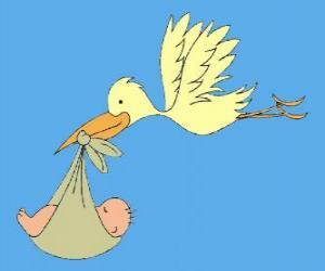 Der Storch trägt einem Baby. Der Storch und das Baby puzzle