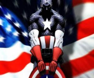 Der Superheld Captain America ist ein patriotischer und ein Experte im Nahkampf puzzle