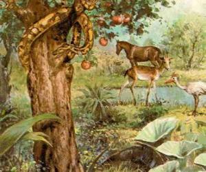 Der Teufel in form einer schlange im Baum der Erkenntnis von Gut und Böse puzzle