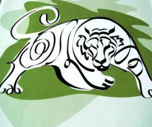 Der Tiger, der Tiger zu unterzeichnen, das Jahr des Tigers. Das dritte Zeichen der zwölf Tiere des chinesischen Tierkreises puzzle