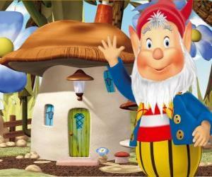 Der weise Big-Ears, ein bärtiger wichtel, der in einem Fliegenpilz Haus wohnt puzzle
