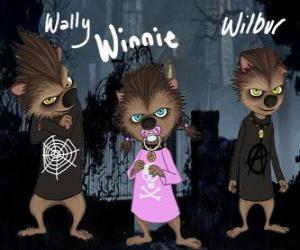 Der Werwolf-Familie. Die Welpen: Wally, Winnie und Willbur puzzle