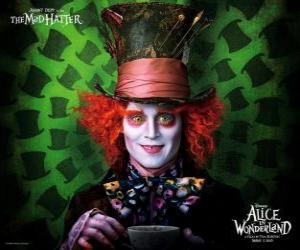 Der wütende Hutmacher (Johnny Depp), ein Charakter, der Alice hilft puzzle
