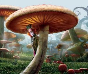 Der wütende Hutmacher (Johnny Depp), verborgen unter einem Pilz puzzle