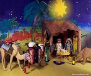 Die Anbetung der Weisen aus dem Morgenland, um das Jesuskind puzzle