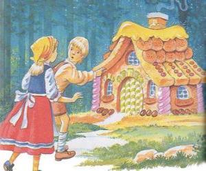 Die beiden Geschwister Hänsel und Gretel entdecken ein Haus von leckeren Süßigkeiten gemacht puzzle