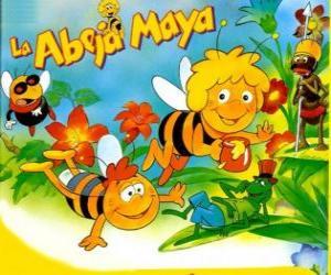 Die Biene Maja und ihr Freund Willi unter den Augen von Flip und anderen Zeichen puzzle