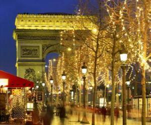 Die Champs Élysées zu Weihnachten mit dem Arc de Triomphe dekoriert in den Hintergrund. Paris, Frankreich puzzle