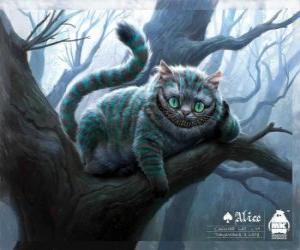 Die Cheshire-Katze oder Grinsekatze ruht auf einem Ast puzzle