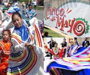 Die Cinco de Mayo ist am 5. Mai in Mexiko und den Vereinigten Staaten gefeiert, um 1862 Schlacht von Puebla gedenken puzzle