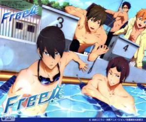 Die fünf Protagonisten von Free! RIN und Haruka, Nagisa, Rei, Makoto puzzle
