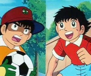 Die Fußballer Tsubasa Ozora und sein Freund Genzo Wakabayashi, der als Torwart spielt puzzle