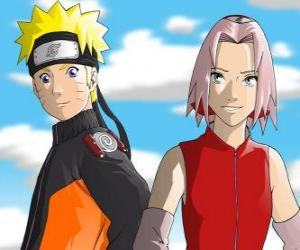 Die Hauptfiguren Naruto Uzumaki und Sakura Haruno lächeln puzzle