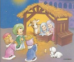 Die Heilige Drei Könige ihre gaben, gold, weihrauch und myrrhe, das Kind Jesus puzzle