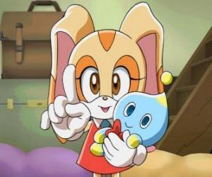 Die Kaninchen Cream the Rabbit mit ihrem Chao, Cheese puzzle