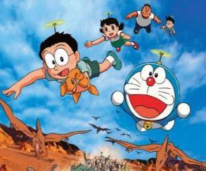 Die Katze Doraemon mit seinen Freunden Nobita, Shizuka, Suneo und Takeshi puzzle