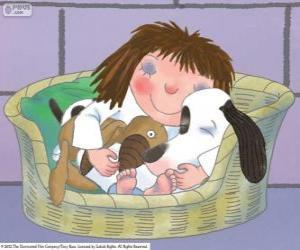 Die kleine Prinzessin, mit seinem Hund Scruff und ihr Teddybär puzzle