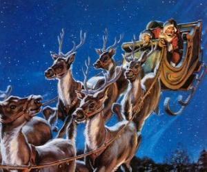 Die magische Rentier zieht der Schlitten des Weihnachtsmannes am Heiligen Abend puzzle