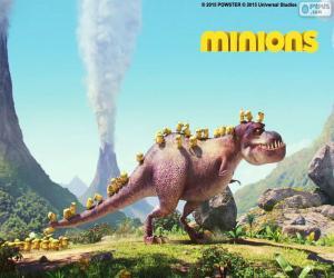 Die Minions mit der Dinosaurier puzzle