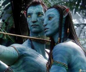 Die na'vi avatar Jake und Neytiri bereit, einen Pfeil Start puzzle