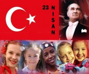 Die nationale Souveränität und Kindertag ist halten in der Türkei jeder 23. April puzzle