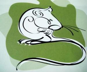 Die Ratte, die Zeichen der Ratte, das Jahr der Ratte. Das erste Zeichen der zwölf Tiere des chinesischen Tierkreises puzzle