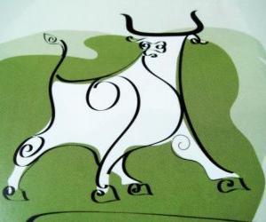 Die Rind, das Zeichen des Büffel, das jahr der Rind. Das zweite Tier des chinesischen Tierkreises puzzle