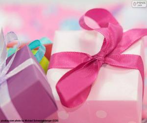 Die rosa Schleife Geschenk puzzle