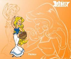 Die schöne blondine Falbala ist die platonische Liebe von Obelix puzzle