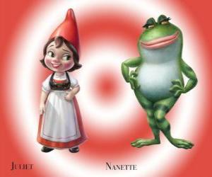 Die schöne Julia, die Tochter des Führers der Roten Garden Gnome, mit seinem besten Freund Nanette Frosch Garten puzzle