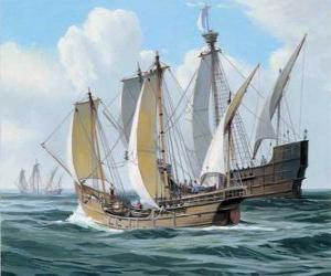 Die Schiffe der ersten Reise des Kolumbus wurde das Schiff Santa Maria und die Karavellen, die Pinta und Nina puzzle