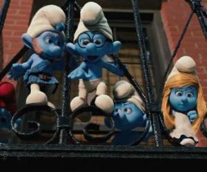 Die Schlümpfe auf dem Sprung vom Balkon puzzle