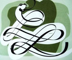 Die Schlange, das Zeichen der Schlange, Year of the Snake. Der sechste der chinesischen Horoskop Zeichen puzzle