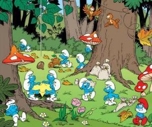 Die Schlümpfe, die in den Wald, sammeln Nahrung puzzle