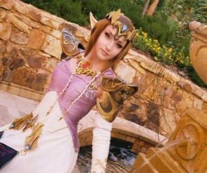 Die schöne Prinzessin Zelda mit einer Rose in der Hand puzzle