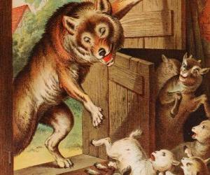Die sieben Geißlein und haben Angst und verstecken, wenn sie den Wolf zu sehen an der Tür laufen puzzle