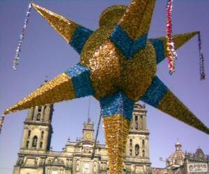 Die traditionelle Piñata in Mexiko an Weihnachten, ein neun-Stern, der Stern von Bethlehem puzzle