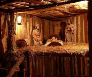 Die Weihnachtkrippe Figuren in einem kleinen Holzhaus puzzle