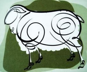 Die Ziege, die Zeichen der Ziege, dem Jahr der Ziege in der chinesischen Astrologie. Das achte Zeichen des chinesischen Kalenders puzzle