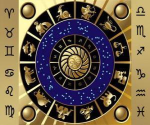 Die zwölf Zeichen des Tierkreises, der Zodiac-Rad puzzle