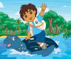 Diego auf dem Meer auf dem Panzer einer Meeresschildkröte puzzle