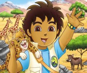 Diego und Baby Jaguar helfen die Tiere in Gefahr in der Serie Diego puzzle