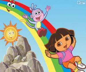 Dora, Boots und der Regenbogen puzzle